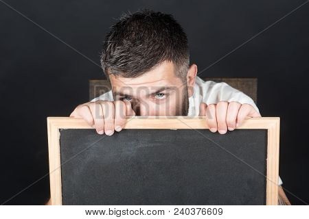 Bearded Man Holds Black Board, Ready For Your Text. Advertising Or Business Concept - Attractive Man