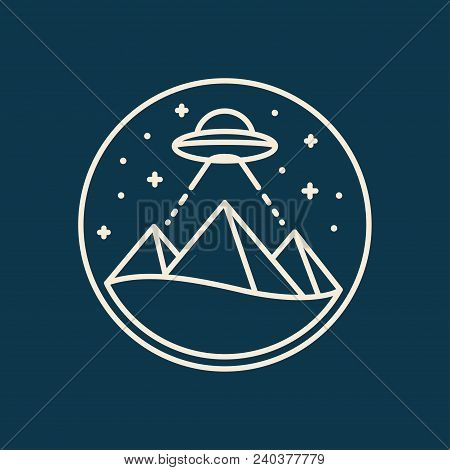 Egypt Pyramids At Night With Ufo Flying Saucer. Alien Built Pyramids Theory. Simple, Modern Line Ico