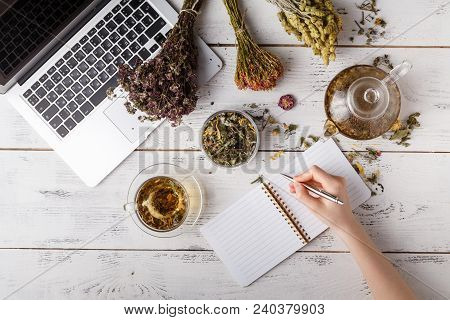 Natural Medicine. Herbs, Medicinal Bottles And Old Recipe Book With Copy Space For Your Text