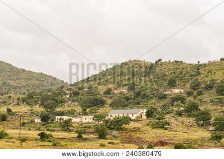 Tugela Ferry, South Africa - March 22, 2018: A Landscape With A Church And Several Houses Near Tugel