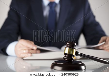 Law Concept. Judge, Gavel, Documents. White Background. Man In Suit.