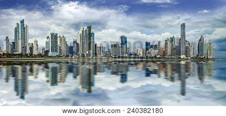 Panoramic View Of Panama City Skyline