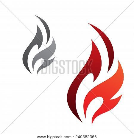 Simple Flaming Abstract Vector Icon Isolated On The White Background. Flaming Fire Shape Sign Symbol