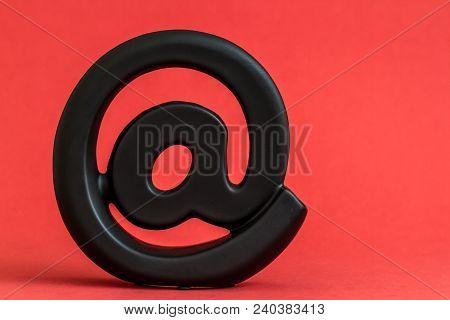 Decorative Black Email Symbol On Red Background