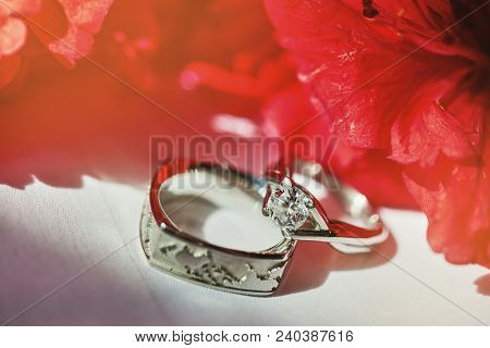 Wedding Rings Or Engagement Rings Surrounding With Red Flower, The Diamond Head Of The Ring Glitteri