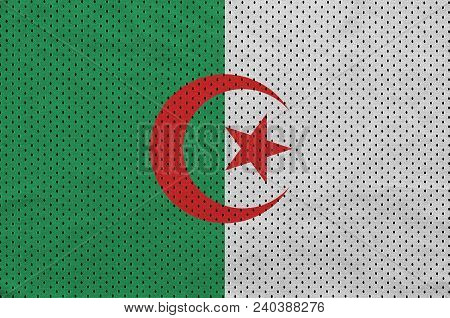 Algeria flag printed on a polyester nylon sportswear mesh fabric with some folds poster