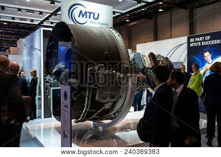 Berlin, Germany - April 25, 2018: The Stand Of Mtu Aero Engines And High-bypass Geared Turbofan Engi