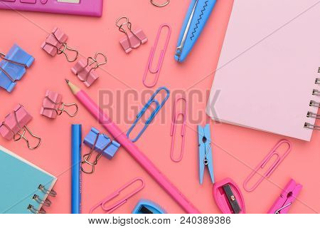 Stationary Concept, Flat Lay Top View Photo Of Scissors, Pencils, Paper Clips,calculator,sticky Note