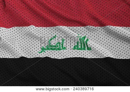 Iraq Flag Printed On A Polyester Nylon Sportswear Mesh Fabric With Some Folds