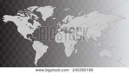 Vector World Map Illustration Isolated Over Transparent Background. Flat Globe, Earth Template. Worl