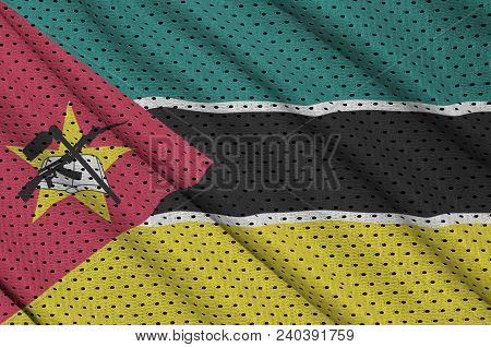 Mozambique flag printed on a polyester nylon sportswear mesh fabric with some folds poster