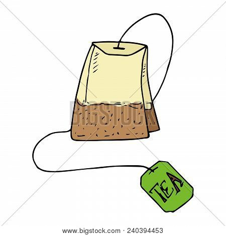 Dry Tea Bag. Green Tea. Vector Illustration Of A Tea Bag Of Green Tea.