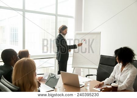 Confident Businessman Or Business Coach Giving Presentation To Multiracial Group Explaining New Clie