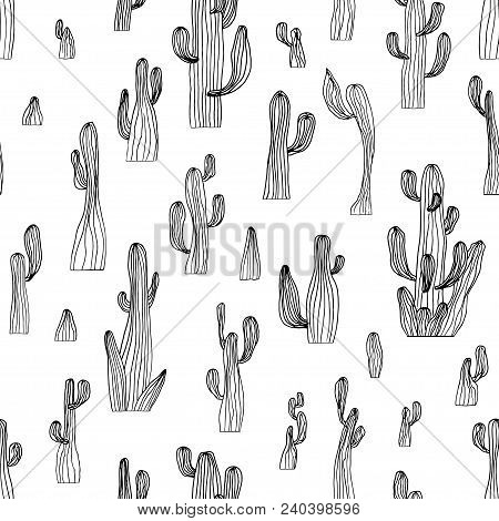 Vector Seamless Cactus Pattern From Saguaro Cactus. Sketch Cactus Background. Coloring Page Book Ant