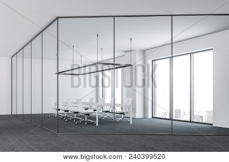 Glass And Metal Modern Office Conference Room Interior With A Gray Floor, Panoramic Windows And A Lo