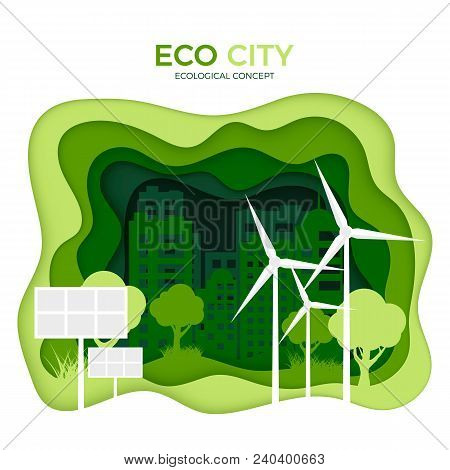 Eco City Ecological Concept. Green Paper Cut Banner Template. World Environment Day. Green Energy So