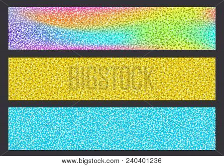 Bright Colorful Glittering Headers Background Set. Blue, Rainbow And Golden Color Banners, Sparkling