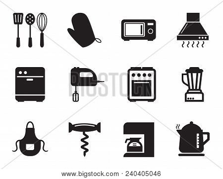 Kitchen vector icons set with toaster, microwave oven and mixer. Thirteen simple icons poster