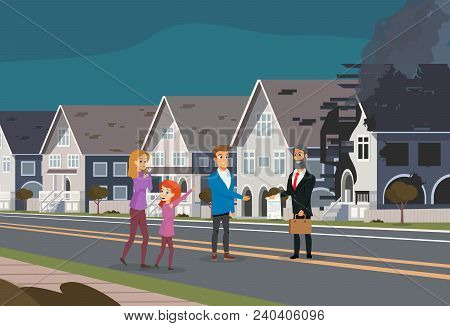 Insurance Accident Concept Cartoon Characters Of Family And Insurance Agent Show The Contract For De