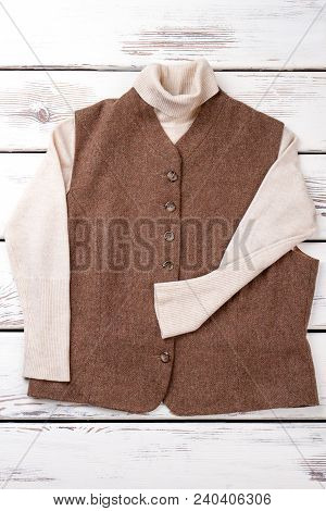 Female Brown Vest And White Sweater. Women Classic Clothes On Sale. Ladies Brand Outfit. Beautiful C
