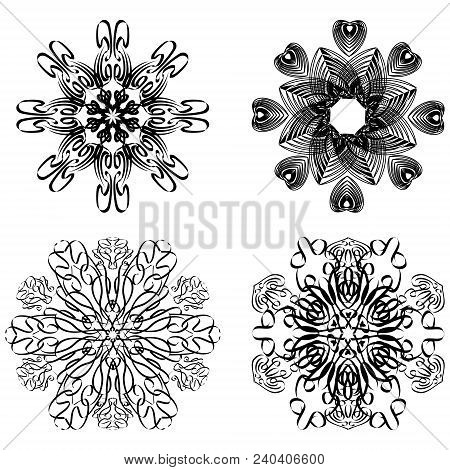 Calligraphic Circular Geometric Patterns, Design Elements In Black And White, Symmetric Lace Pattern
