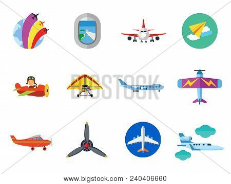 Plane Icon Set. Air Show Paper Plane Flying Machine Airplane Propeller Big Aircraft Jet Airliner Kid