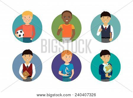 Set Of Schoolboys Characters Of Various Ethnicity, Age, Holding Different Objects