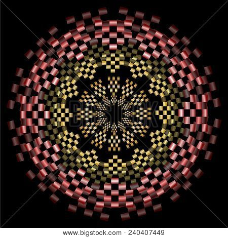 Yellow And Red Mandala With Metallic Effect And 3d Optical Illusion, Circle Symmetric Patterns On Bl