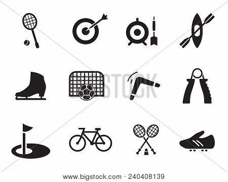 Sport Icons Set With Karate Suit, Badminton And Golf. Thirteen Vector Icons