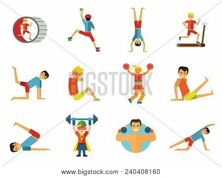 Sportsman Vector Icons Set. Thirteen Icons Of Running Man, Rock Climber, Bodybuilder And Other Sport