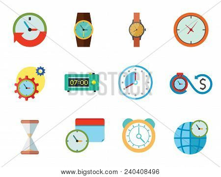 Time Icon Set. Time Is Money Time Management Calendar Time World Alarm Clock Sandglass Round-the-clo