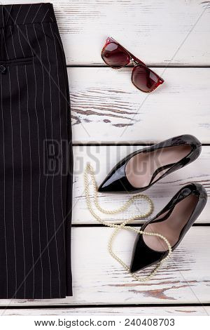 Female Skirt, Shoes And Accessories. Women Classic Black Skirt, Leather Heels And Other Fashion Item