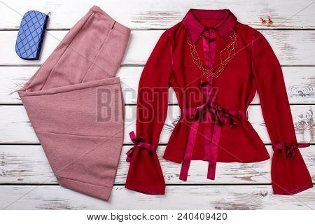 Women Classy Clothes On Showcase. Feminine Red Classic Shirt With Necklace. Women Elegance And Style