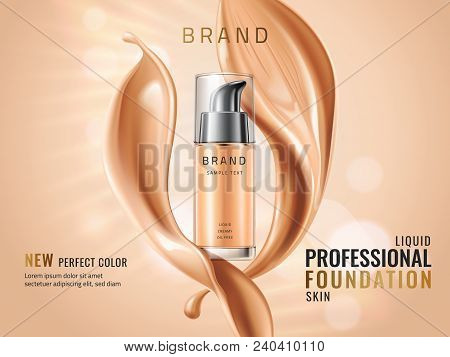 Luxury Liquid Foundation Ads. Glass Transparent Bottle With Liquid Creamy Texture Isolated On Glitte