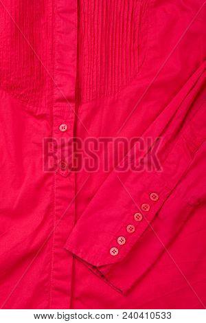Close Up Female Elegant Red Shirt. Detail Of Women Cotton Blouse. Feminine Fashion Outfit.