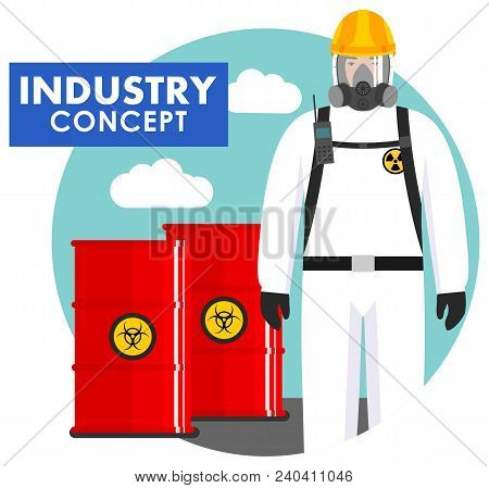 Detailed Illustration Of Barrels With Chemical, Radioactive, Toxic, Hazardous Substances And Worker