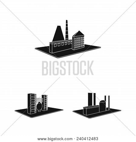 Factory And Plant Black Icons In Set Collection For Design. Production And Enterprise Vector Isometr