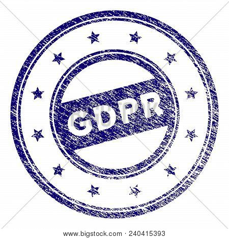 Gdpr Round Stamp Seal. Vector Element With Grainy Design And Corroded Texture In Blue Color. Designe