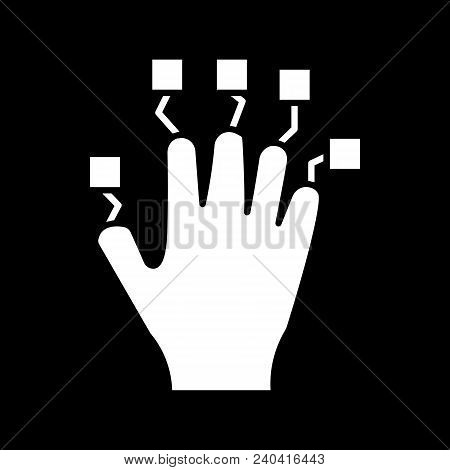 Hand Controller Icon. Silhouette Hand Controller Vector Icon For Web Design Isolated On Black Backgr