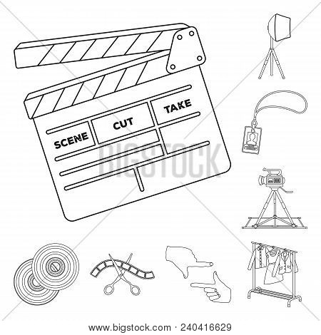 Making A Movie Outline Icons In Set Collection For Design. Attributes And Equipment Vector Symbol St