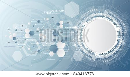 Technology Background And Abstract Digital Tech Circle With Various Technological Elements. Vector I