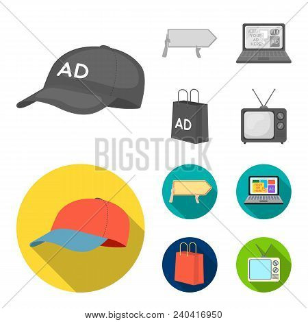 Baseball Cap, Pointer In Hands, Laptop, Shopping Bag.advertising, Set Collection Icons In Monochrome