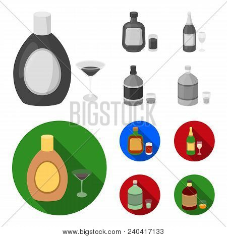 Liquor Chocolate, Champagne, Absinthe, Herbal Liqueur.alcohol Set Collection Icons In Monochrome, Fl