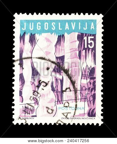 Yugoslavia - Circa 1959 :cancelled Postage Stamp Printed By Yugoslavia, That Shows Postojna Cave.