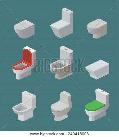 Toilet Bowl And Seat Vector Isometric Icons Toiletries Flush And Bathroom Ceramic Equipment Or Sanit