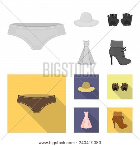 Panties, Gloves, Dress, Hat. Clothing Set Collection Icons In Monochrome, Flat Style Vector Symbol S