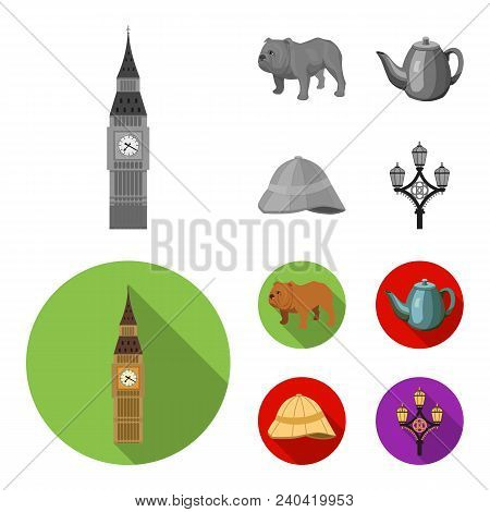 Breed Dog, Teapot, Brewer .england Country Set Collection Icons In Monochrome, Flat Style Vector Sym