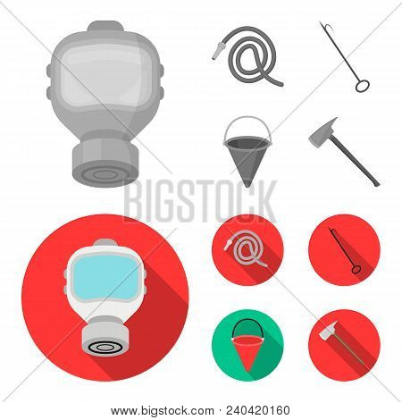 Gas Mask, Hose, Bucket, Bagore. Fire Department Set Collection Icons In Monochrome, Flat Style Vecto