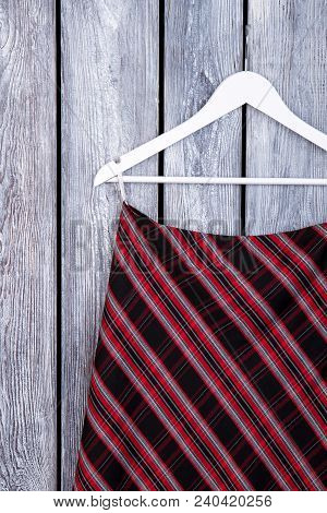 Women Black And Red Striped Skirt. Feminine Classic Design Garment. Female Garment On Sale.
