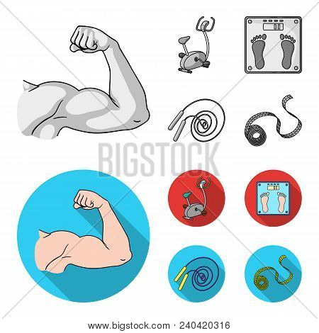 Biceps, Exercise Bike, Scales For Weighing, Skalka. Fitnes Set Collection Icons In Monochrome, Flat
